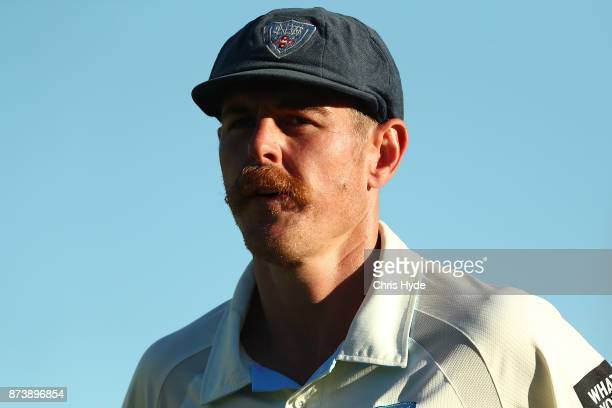 Daniel Hughes of New South Wales looks on during day two of the Sheffield Shield match between Queensland and New South Wales at Allan Border Field...