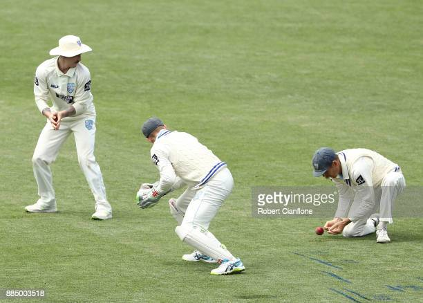 Daniel Hughes of NSW drops a catch during day two of the Sheffield Shield match between New South Wales and Tasmania at Blundstone Arena on December...