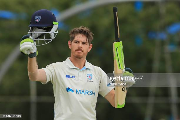 Daniel Hughes of the Blues celebrates his century during day three of the Sheffield Shield match between New South Wales and South Australia at...