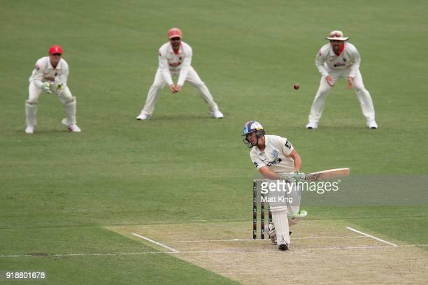 Daniel Hughes of the Blues evades a bouncer during day one of the Sheffield Shield match between New South Wales and South Australia at Sydney...