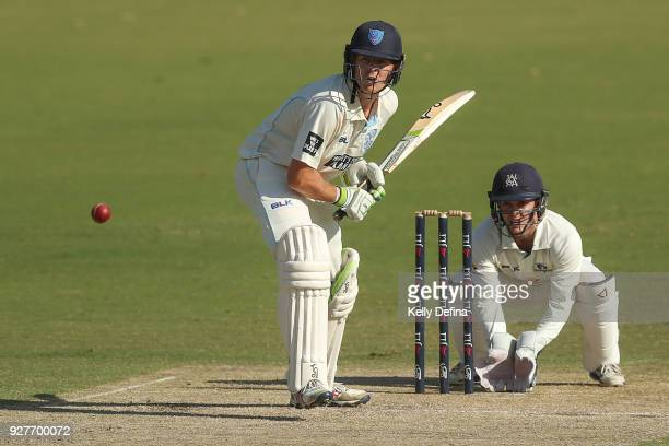 Daniel Hughes of the NSW Blues bats during day one of the Sheffield Shield match between Victoria and New South Wales at Junction Oval on March 3...