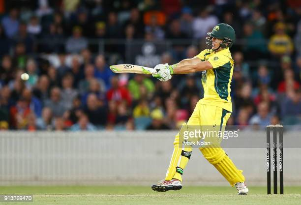 Daniel Hughes of the PM's XI bats during the One Day Tour Match between the Prime Minister's XI and England at Manuka Oval on February 2 2018 in...