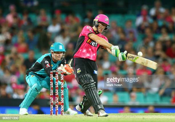 Daniel Hughes of the Sixers bats during the Big Bash League match between the Sydney Sixers and the Brisbane Heat at Sydney Cricket Ground on January...