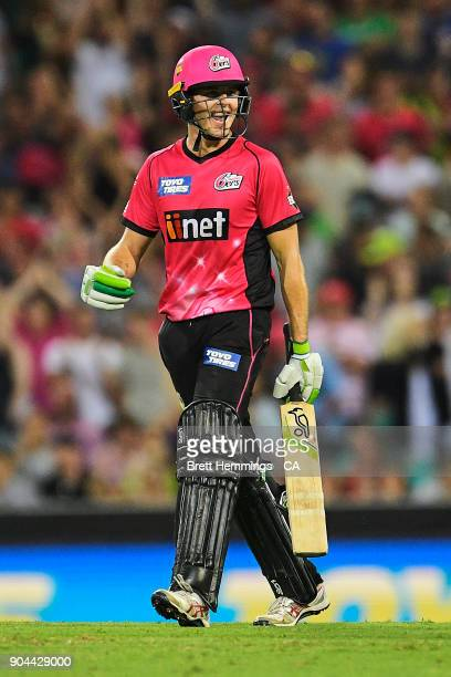 Daniel Hughes of the Sixers celebrates victory during the Big Bash League match between the Sydney Sixers and the Sydney Thunder at Sydney Cricket...