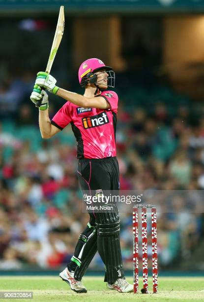 Daniel Hughes of the Sixers hits a six during the Big Bash League match between the Sydney Sixers and the Brisbane Heat at Sydney Cricket Ground on...