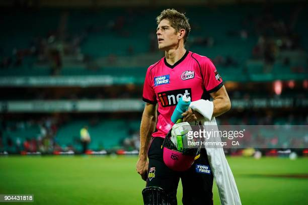 Daniel Hughes of the Sixers leaves the field not out after victory during the Big Bash League match between the Sydney Sixers and the Sydney Thunder...