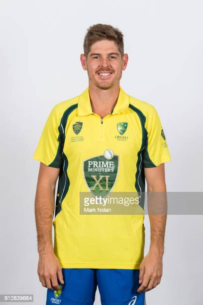 Daniel Hughes poses during the PM's XI headshots session at Manuka Oval on February 1 2018 in Canberra Australia
