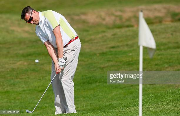 Daniel Humble of Broke Hill Golf Club chips onto the 9th green during the Virgin Atlantic PGA National ProAm Championship Regional Final at Chart...
