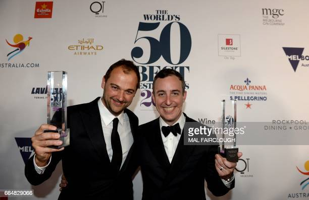 Daniel Humm and Will Guidara pose with their trophies after winning the Worlds Best Restaurant award at the World's 50 Best Restaurants awards in...