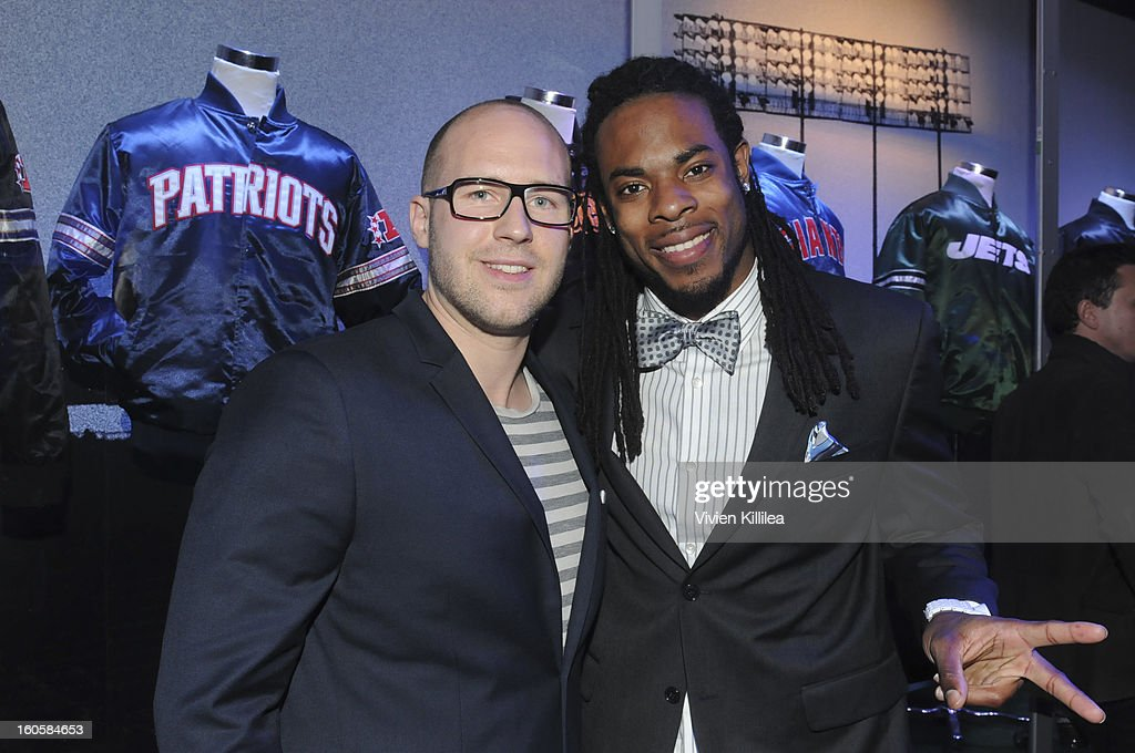 Daniel Hundt and NFL player Richard Sherman attend Starter Parlor - Super Bowl XLVII on February 2, 2013 in New Orleans, Louisiana.