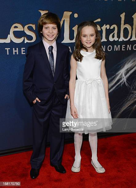 Daniel Huttlestone and Isabelle Allen attend the Les Miserables New York premiere at Ziegfeld Theater on December 10 2012 in New York City