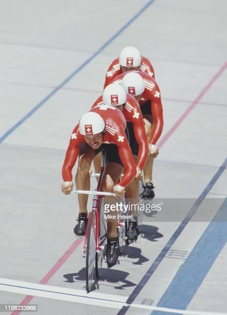 Daniel Huwyler Hans Ledermann Hansruedi Märki and Jorg Muller of Team Switzerland compete during the Men's 4000m Team Pursuit race during the World...