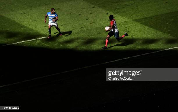 Daniel Ikpefan of France and Gaston Revol of Argentina during the HSBC London Sevens at Twickenham Stadium on May 20 2017 in London United Kingdom