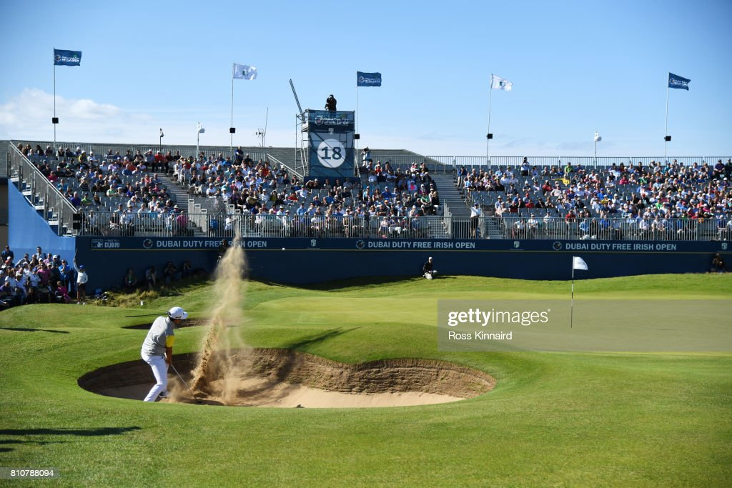 Daniel Im of the United States hits his third shot on the 18th hole during day three of the Dubai Duty Free Irish Open at Portstewart Golf Club on July 8, 2017 in Londonderry, Northern Ireland.