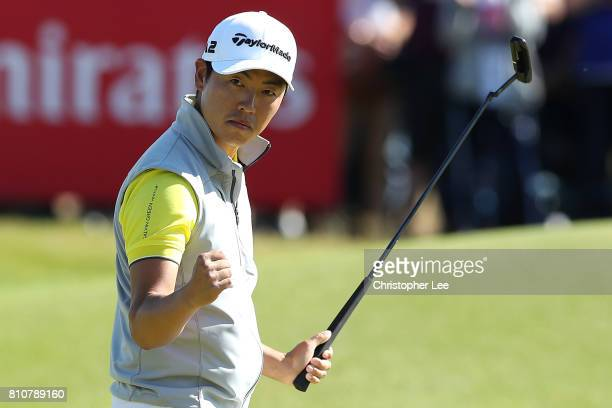 Daniel Im of the United States reacts to his par putt on the 18th green during day three of the Dubai Duty Free Irish Open at Portstewart Golf Club...