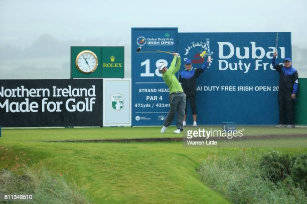 Daniel Im of the United States tees off ont he 18th hole during the final round of the Dubai Duty Free Irish Open at Portstewart Golf Club on July 9...
