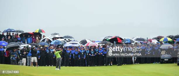 Daniel Im of USA plays his approach into the 18th green during the final round of the Dubai Duty Free Irish Open hosted by the Rory Foundation at...