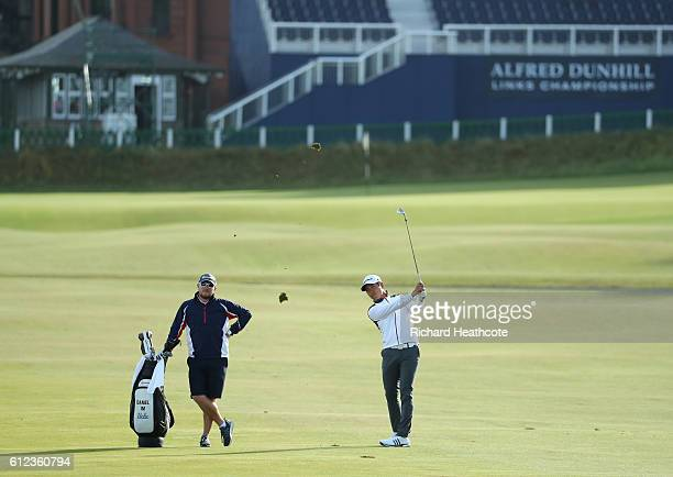 Daniel Im of USA plays into the first green during a practise round for the Alfred Dunhill Links Championship at The Old Course on October 4 2016 in...