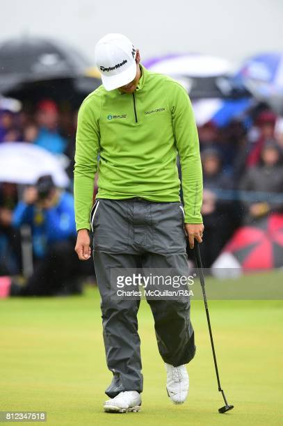Daniel Im of USA reacts after missing a putt on the 18th green during the final round of the Dubai Duty Free Irish Open hosted by the Rory Foundation...
