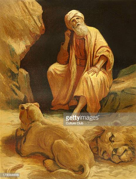 Daniel in the den of lions after ignoring King Darius' royal decree to stop praying to God for thirty days Illustration by Philip R Morris