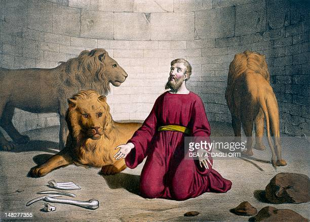 Daniel in the lions' den illustration from the Old Testament the end of the 19th century engraving by Bequet Delagrave edition Paris