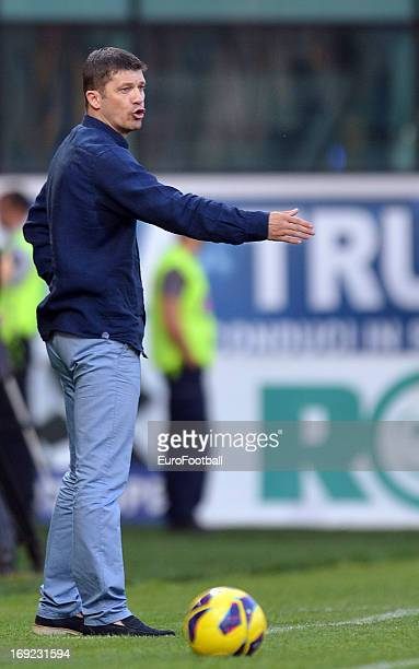 Daniel Isaila coach of FC Astra Ploiesti looks on during the Romanian First Division match between FC Petrolul Ploiesti and FC Astra Ploiesti held on...