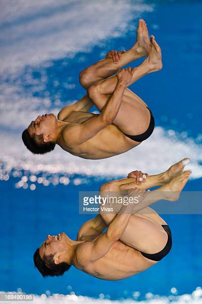 Daniel Islas and Yahel Castillo from Mexico during the Men's 3 meters Synchronized Springboard Finals of the FINA MIDEA Diving World Series 2013 at...