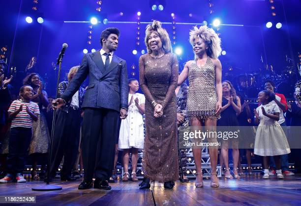 Daniel J Watts Tina Turner and Adrienne Warren speak during Tina The Tina Turner Musical opening night at LuntFontanne Theatre on November 07 2019 in...