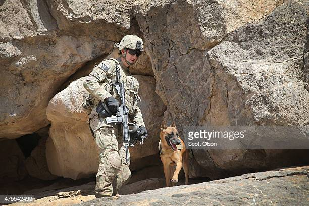 Daniel Jackson from Centralia Kansas and his dog Bailey with the 904th Military Police Detachment search through caves looking for weapons caches...