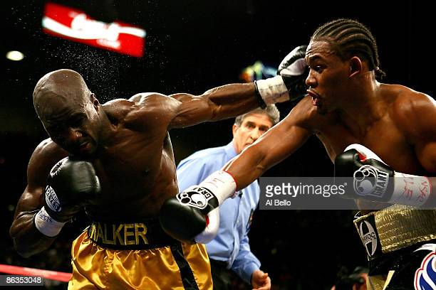 Daniel Jacobs and Michael Walker exchange blows during their middleweight fight at the MGM Grand Garden Arena May 2, 2009 in Las Vegas, Nevada....
