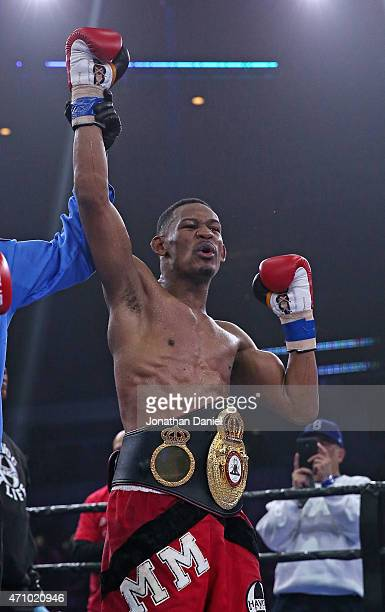 Daniel Jacobs celebrates a TKO of Caleb Truax during a middleweight fight at the UIC Pavilion on April 24 2015 in Chicago Illinois