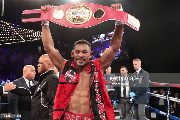 Daniel Jacobs celebrates after defeating Sergiy Derevyanchenko by split decision during their featherweight fight on October 26, 2018 in New York...