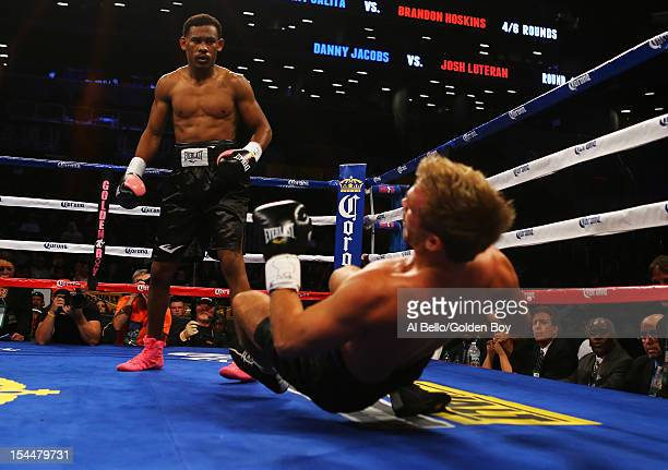 Daniel Jacobs knocks out Josh Luteran in the first round of their middleweight fight at the Barclays Center on October 20 2012 in the Brooklyn...