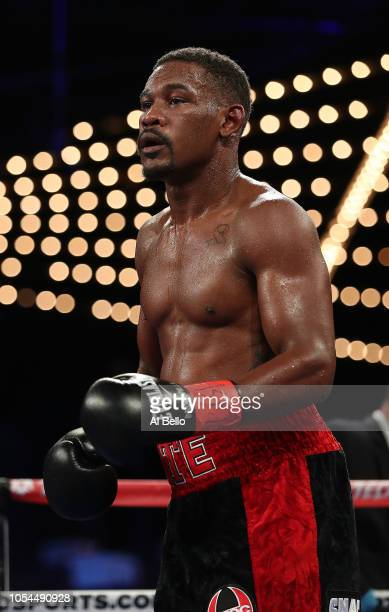 Daniel Jacobs looks on against Sergiy Derevyanchenko during their IBF middleweight title fight at Madison Square Garden on October 27, 2018 in New...