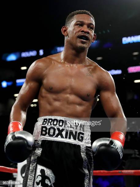 Daniel Jacobs of the USA celebrates during his bout against Maciej Sulecki of Poland during their WBA World Middleweight Title fight at Barclays...