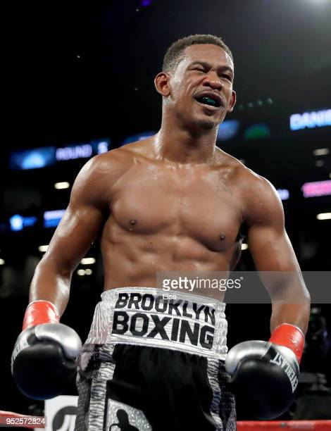 Daniel Jacobs of the USA reacts during his WBA World Middleweight Title bout against Maciej Sulecki of Poland at Barclays Center on April 28, 2018 in...
