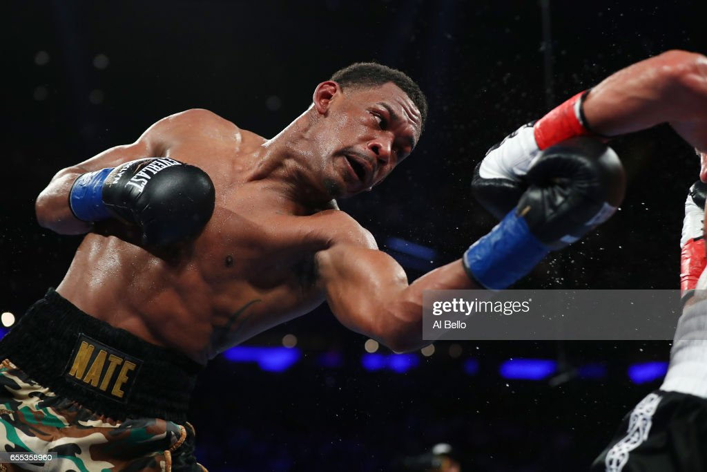 Daniel Jacobs punches Gennady Golovkin during their Championship fight for Golovkin's WBA/WBC/IBF middleweight title at Madison Square Garden on March 18, 2017 in New York City.