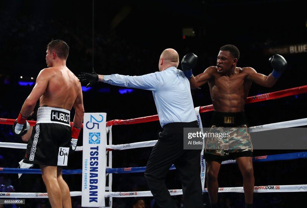 Daniel Jacobs reacts against Gennady Golovkin during their Championship fight for Golovkin's WBA/WBC/IBF middleweight title at Madison Square Garden on March 18, 2017 in New York City.