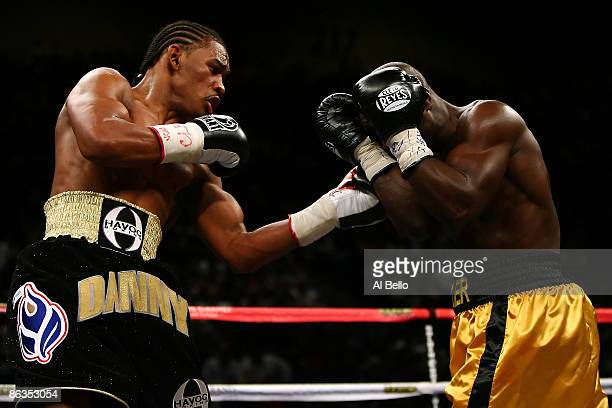 Daniel Jacobs throws a left to the face of Michael Walker during their middleweight fight at the MGM Grand Garden Arena May 2, 2009 in Las Vegas,...