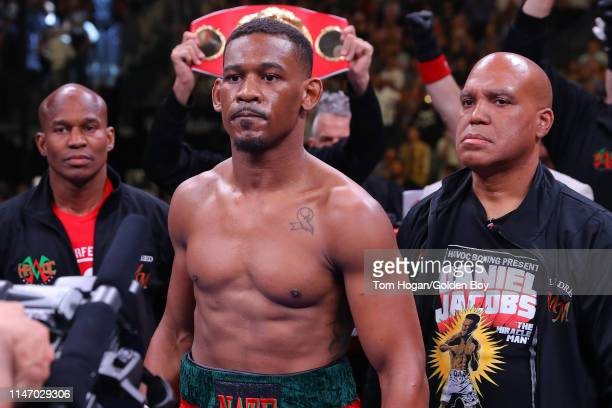 Daniel Jacobs waits in the ring prior to his middleweight unification fight against Canelo Alvarez at T-Mobile Arena on May 04, 2019 in Las Vegas,...