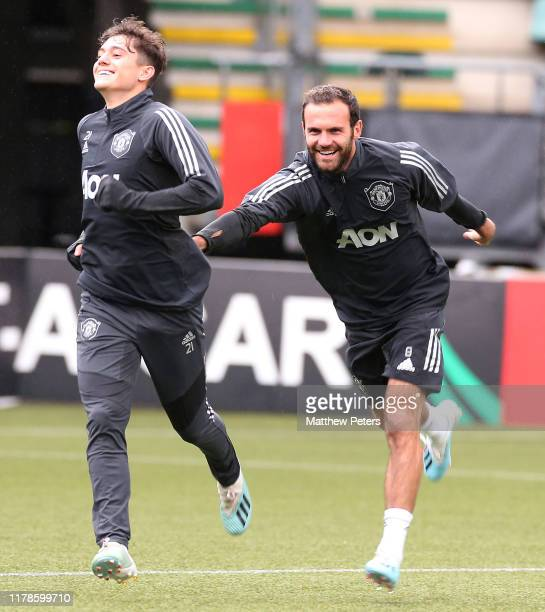 Daniel James and Juan Mata of Manchester United in action during a first team training session at AFAS-Stadium on October 02, 2019 in Alkmaar,...