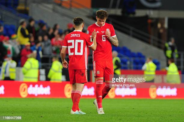 Daniel James celebrates with team mate Joe Rodon of Wales at full time during the UEFA Euro 2020 Qualifier match between Wales and Azerbaijan at the...