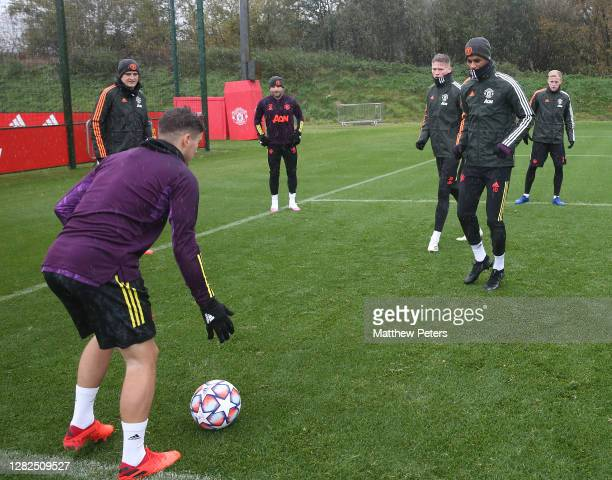 Daniel James Harry Maguire Luke Shaw Scott McTominay Marcus Rashford Donny van de Beek of Manchester United in action during a first team training...