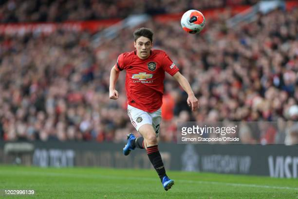 Daniel James of Man Utd keeps his eye on the ball during the Premier League match between Manchester United and Watford FC at Old Trafford on...