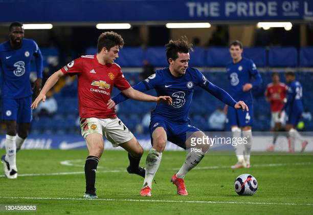 Daniel James of Manchester United battles for possession with Ben Chilwell of Chelsea during the Premier League match between Chelsea and Manchester...
