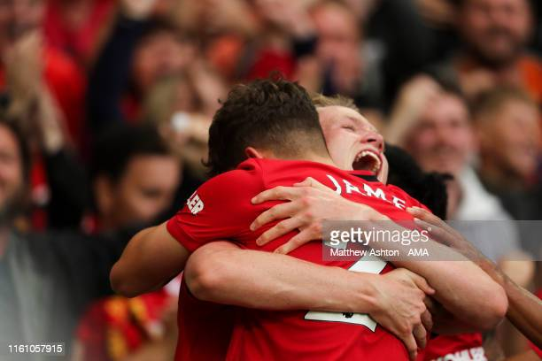 Daniel James of Manchester United celebrates after scoring a goal to make it 40 during the Premier League match between Manchester United and Chelsea...