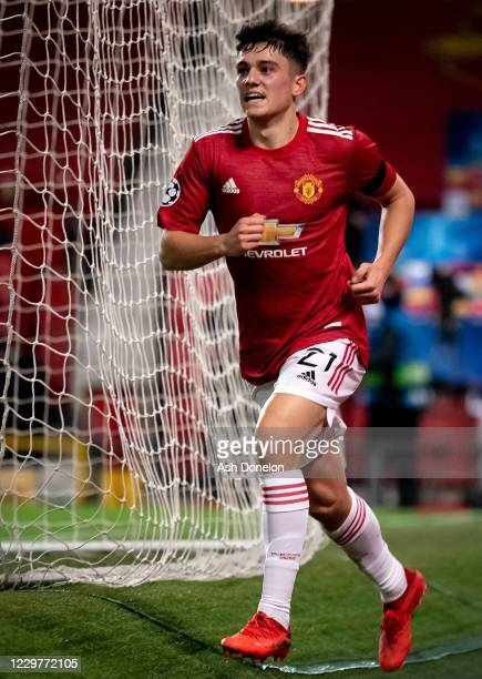 Daniel James of Manchester United celebrates scoring a goal to make the score 4-1 during the UEFA Champions League Group H stage match between...