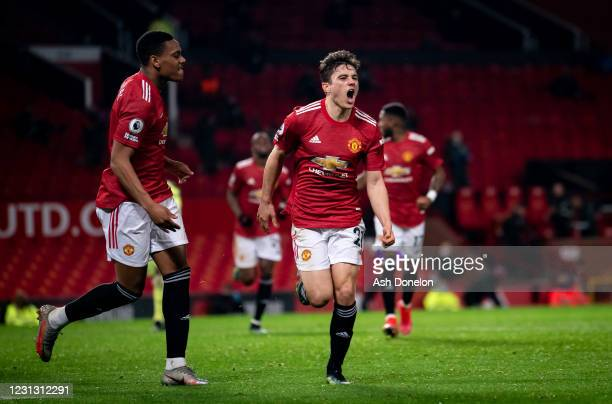 Daniel James of Manchester United celebrates scoring a goal to make the score 2-1 during the Premier League match between Manchester United and...