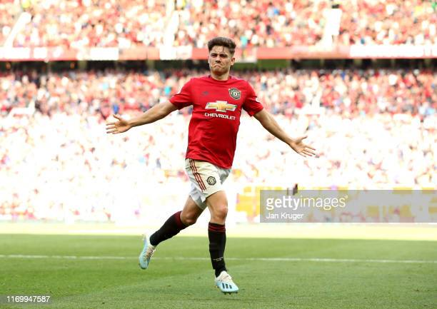 Daniel James of Manchester United celebrates scoring his team's first goal during the Premier League match between Manchester United and Crystal...