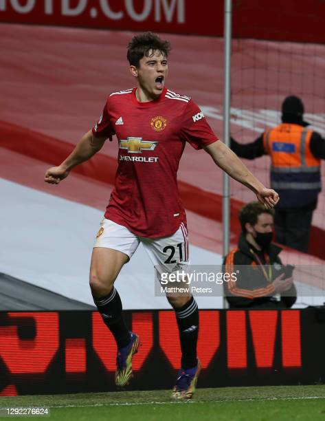 Daniel James of Manchester United celebrates scoring their fifth goal during the Premier League match between Manchester United and Leeds United at...